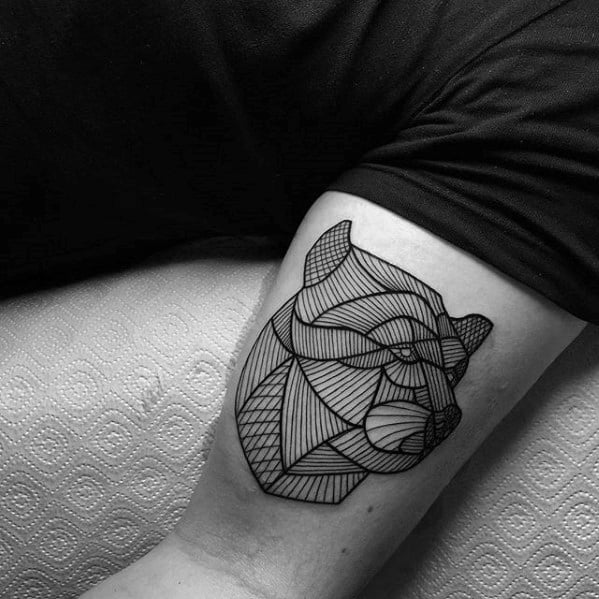 Manly Small Geometric Lines Bear Head Mens Arm Tattoo