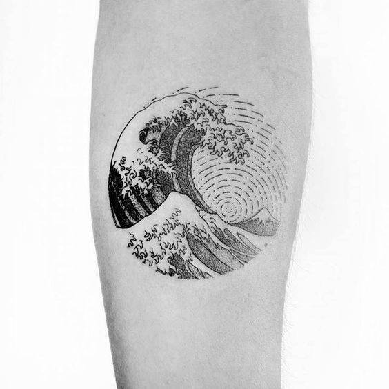Manly Small Unique The Great Wave Circle Mens Inner Forearm Tattoo