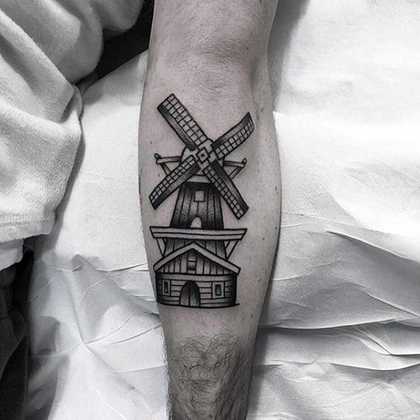 Manly Small Windmill Mens Leg Calf Tattoo