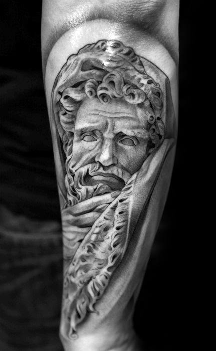 Manly Socrates Outer Forearm Tattoo Design Ideas For Men