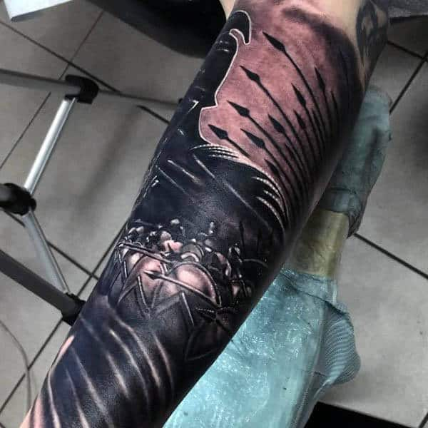 Manly Spear Mens Sleeve Tattoo