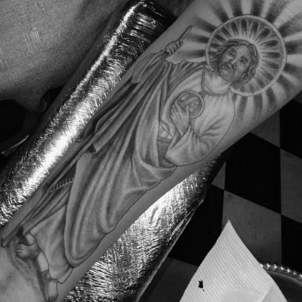 Manly St Jude Guys Forearm Tattoo Designs