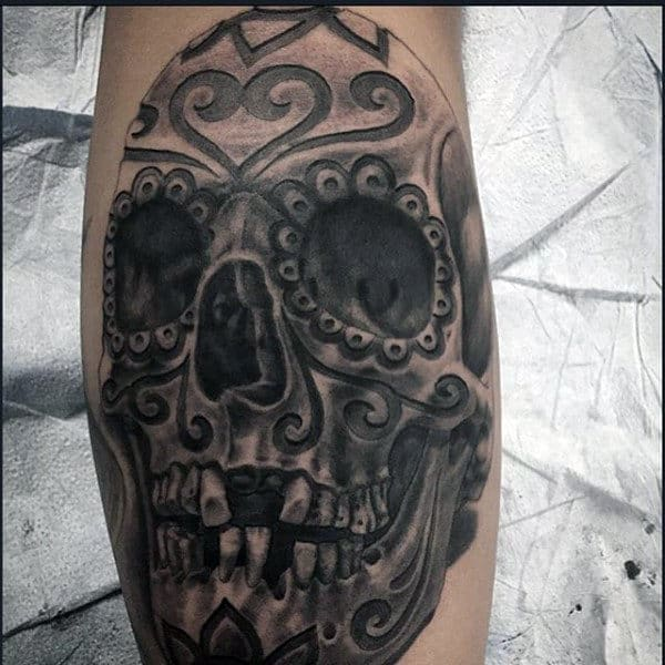 Manly Sugar Skull Tattoos For Men