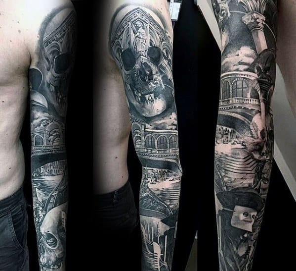 Manly Sweet Mens Shaded Black And Grey Ink Realistic Full Arm Sleeve Tattoo