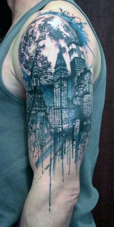 Manly Skyline City Tattoo Half Sleeves