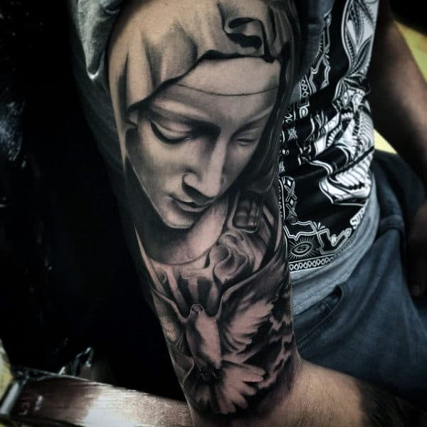 Manly Tattoo Of Doves For Men Half Sleeve