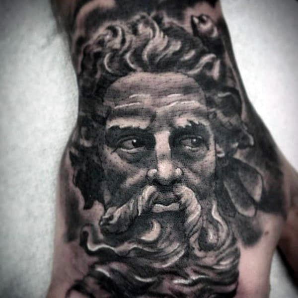Manly Tattoo Of Greyish Bearded Man Tattoo Male Hands