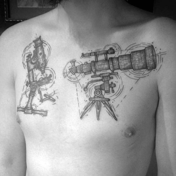 Manly Telescope Tattoo Design Ideas For Men On Upper Chest