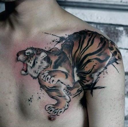 Manly Tiger Arm Tattoos On Shoulder