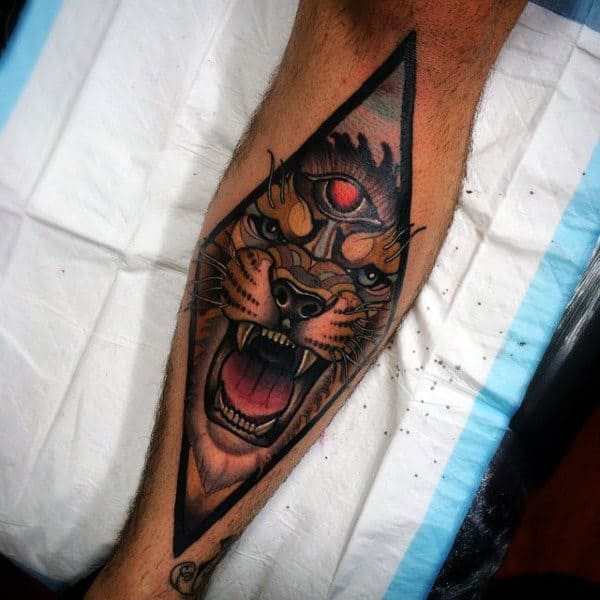 Manly Tiger Shin Guys Tattoo