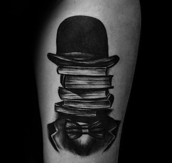 Manly Top Hat Books Thigh Tattoo Design Ideas For Men