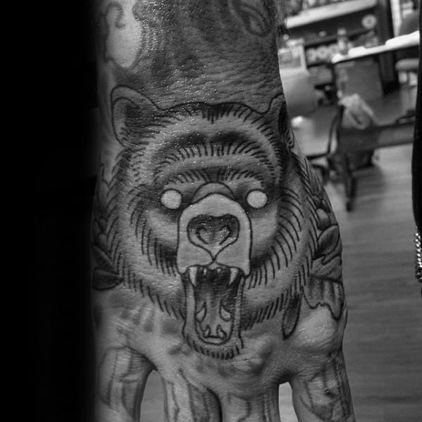 Manly Traditional Bear Male Shaded Tattoo Ideas On Hand