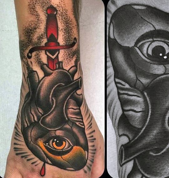 Manly Traditional Eye Heart And Dagger Hand And Forearm Tattoo