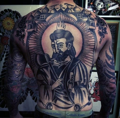 Manly Traditional Guys Back Tattoo Ideas