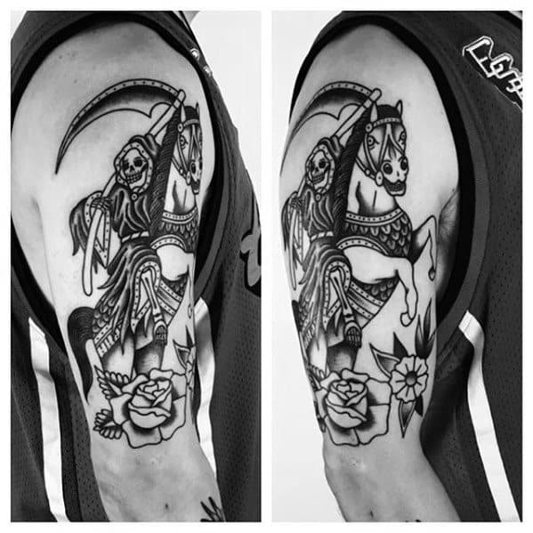 Manly Traditional Horse Tattoo Design Ideas For Men