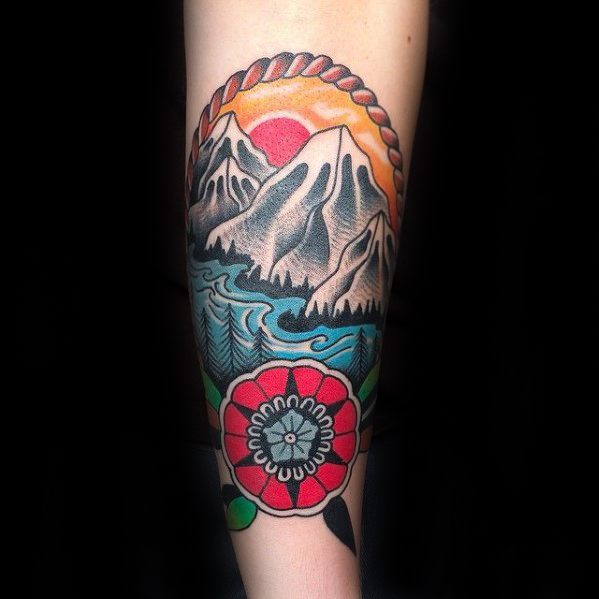 Manly Traditional Mountain Tattoo Design Ideas For Men