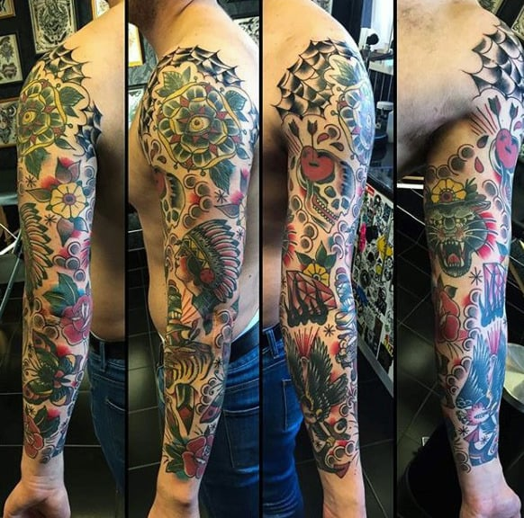 Manly Traditional Sleeve Tattoos For Guys
