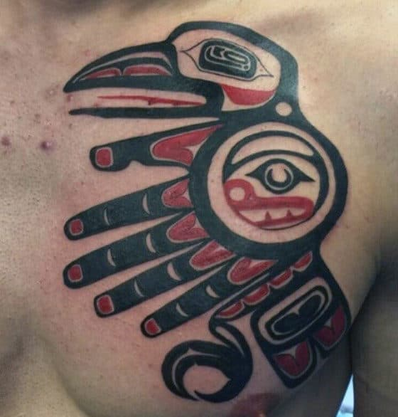 Manly Tribal Bird Haida Chest Tattoos For Men
