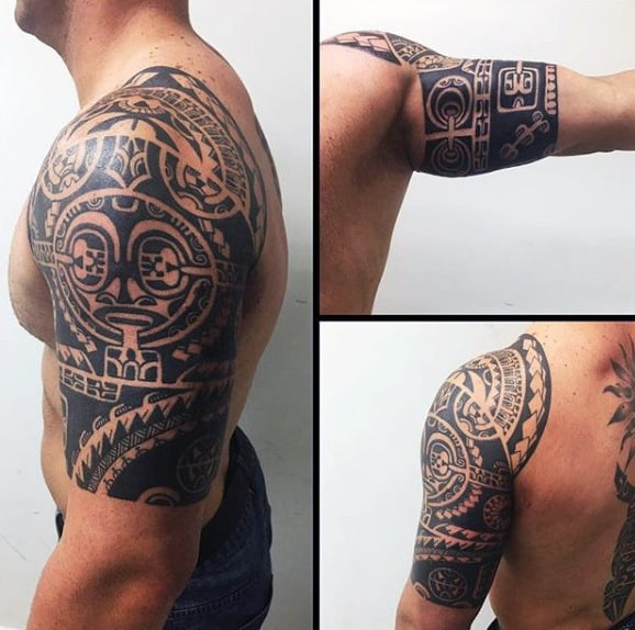 Manly Tribal Half Sleeve Tattoo Design Ideas For Males