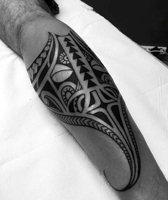 Manly Tribal Leg Manta Ray Tattoo Design Ideas For Men
