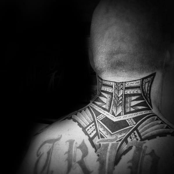 Manly Tribal Neck Tattoo Polynesian Design Ideas For Men