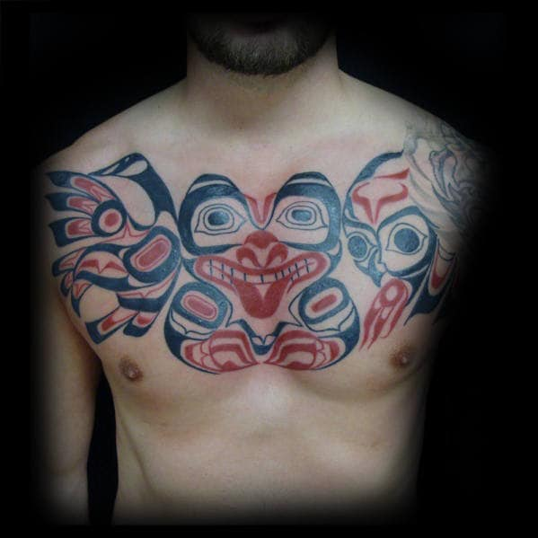 Manly Tribal Owl Upper Chest Black And Red Ink Tattoo Design Ideas