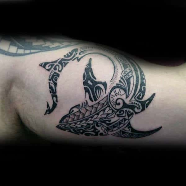 Manly Tribal Shark Bicep Tattoos For Men
