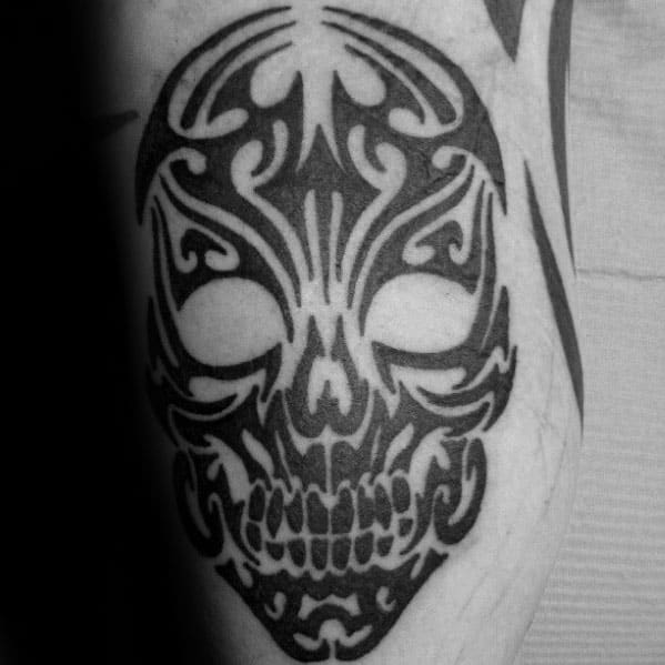 Manly Tribal Skull Tattoo Design Ideas For Men