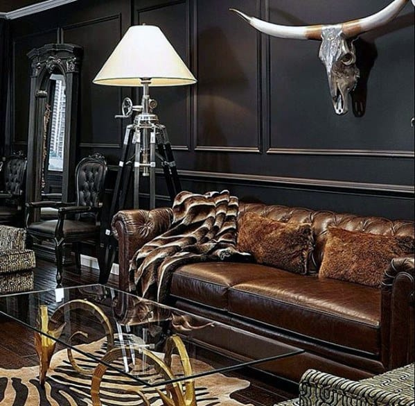 Manly Ultimate Bachelor Pad With Black Walls And Leather Couch