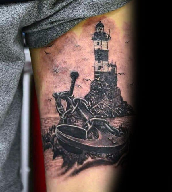 Manly Unique Lighthouse Anchor Mens Thigh Tattoos