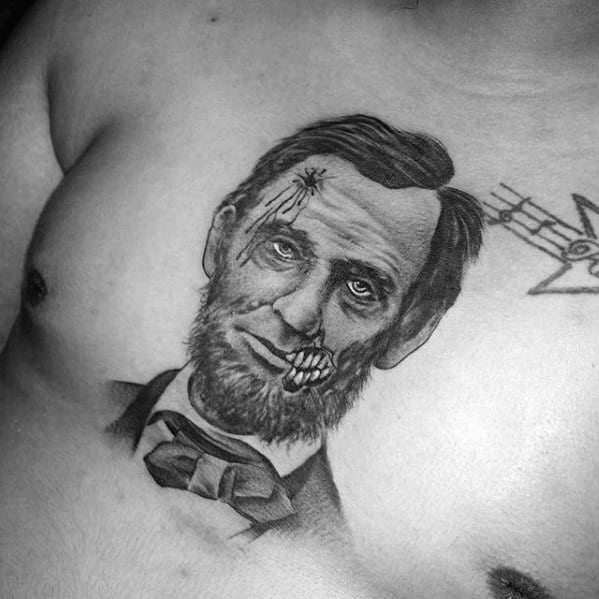 Manly Upp Erchest Zombie Abraham Lincoln Tattoo Design Ideas For Men