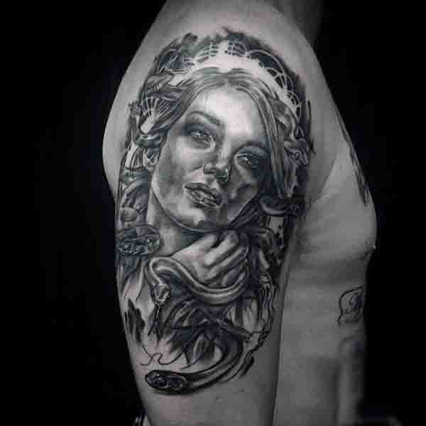 Manly Upper Arm Mens Medusa Tattoos