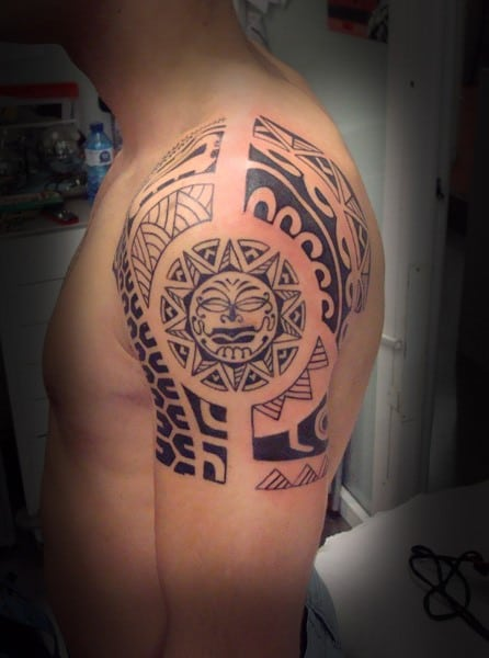 Awesome tribal sun tattoo photos styles ideas