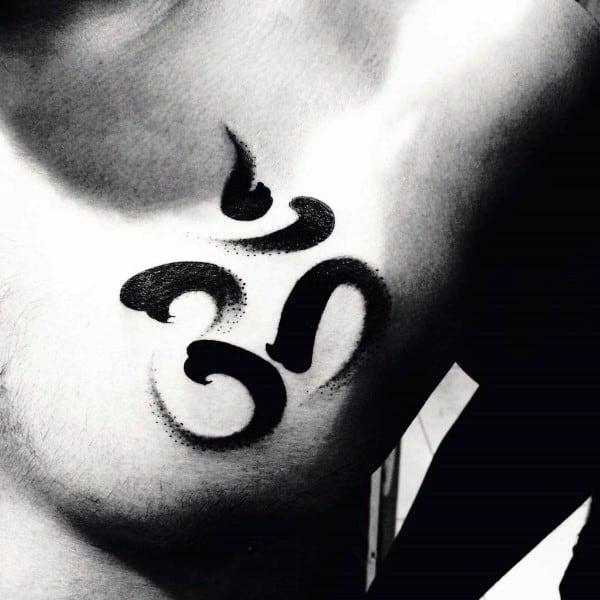 Manly Upper Chest Om Brush Stroke Tattoos