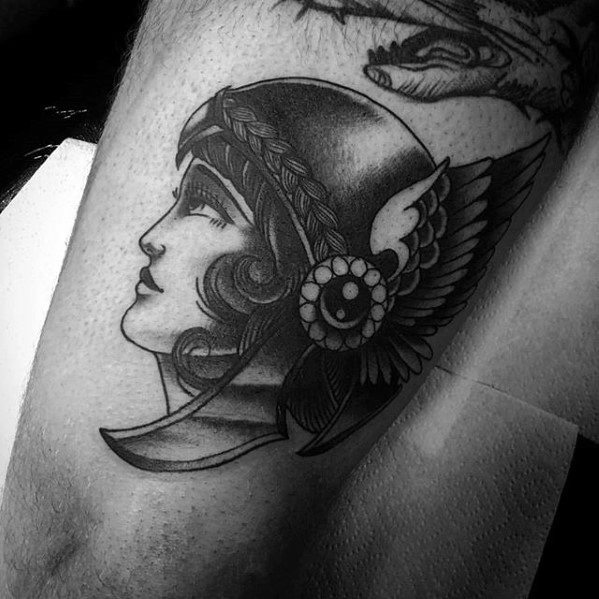 Manly Valkyrie Thigh Tattoo Design Ideas For Men