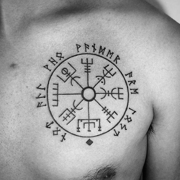 Manly Viking Compass Black Ink Tattoos For Gentlemen On Chest