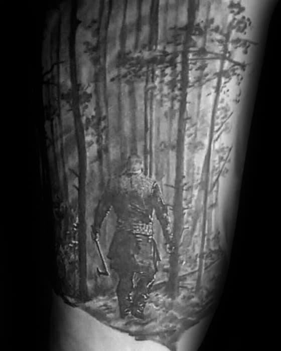 Manly Vikings Ragnar Walking In The Woods Arm Tattoo Design Ideas For Men