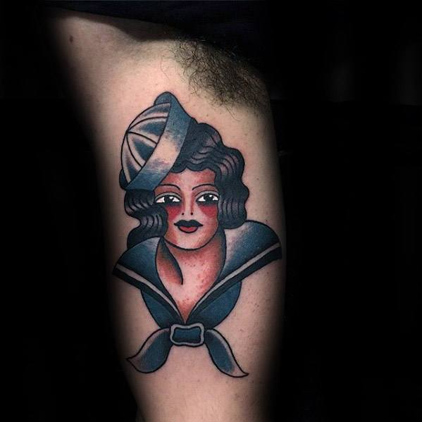 Manly Vintage Female Sailor Inner Arm Bicep Tattoo Design Ideas For Men