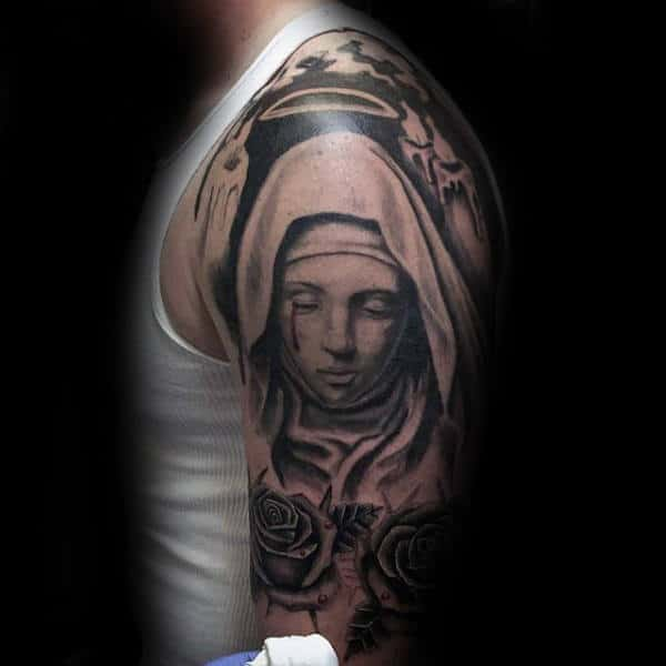 Manly Virgin Mary Half Sleeve Tattoo For Guys