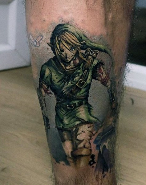 Manly Watercolor Guys Zelda Shin Tattoo On Leg