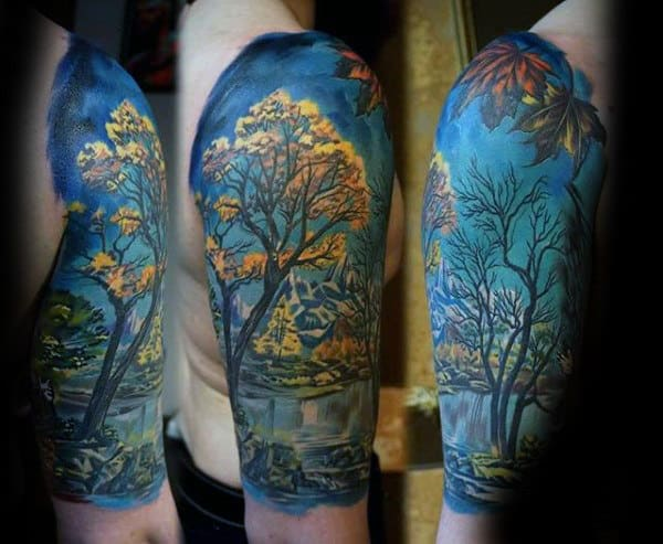 Manly Watercolor Nature Landscape Mens Fall Half Sleeve Tattoo