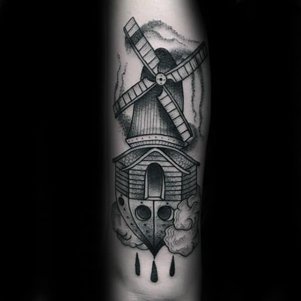 Manly Windmill Guys Forearm Tattoo Ideas