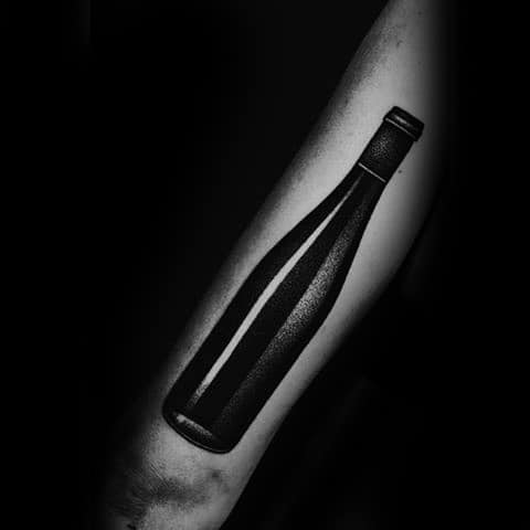 Manly Wine Bottle 3d Outer Arm Tattoo Design Ideas For Men