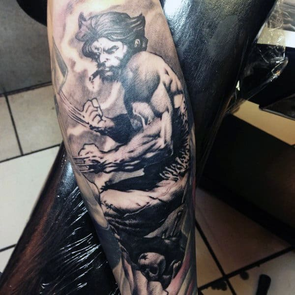 Manly Wolverine Guys Shaded Forearm Sleeve Tattoo