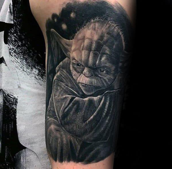 Manly Yoda Guys Half Sleeve Tattoo Ideas