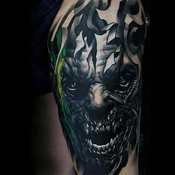 Manly Zombie Upper Arm Tattoo On Guy