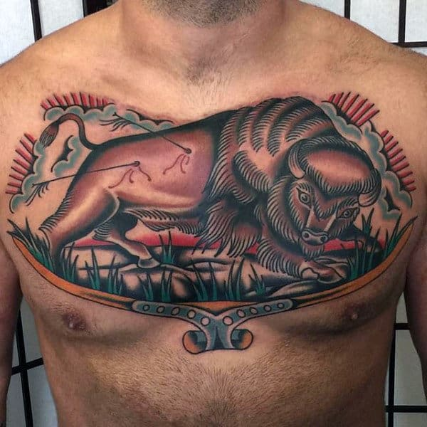 Mans Chest Traditional Horned Bull With Arrows Tattoo