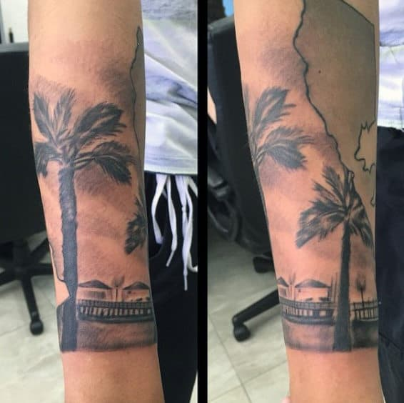 Mans Legs Dark Palm Tree Tattoo