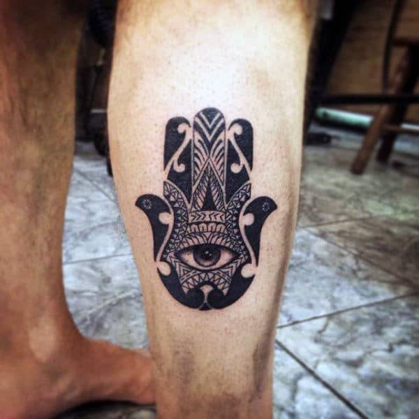 Maori Hand Tattoo Design On Mans Back Of Leg Calf