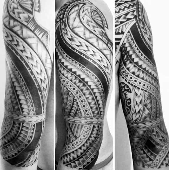 Maori Moko Full Sleeve Male Tattoos